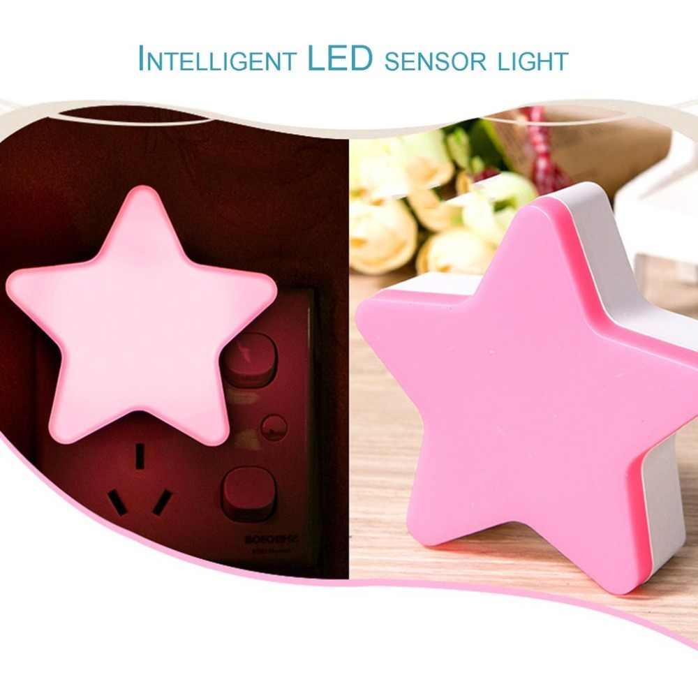 Звездный светодиодный ночник энергосберегающая Индукционная лампа ночник автоматический переключатель Датчик света синий/белый/розовый/желтый США/ЕС штекер
