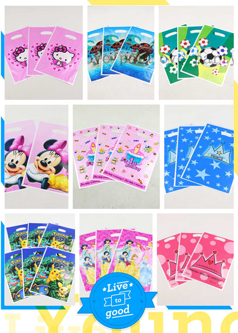 10pcs Mickey Minnie Kids Favors Pokemon Go Birthday Party Loot Mermaid Candy Bag Decoration Moana Plastic Hello Kitty Gift Bags World Of