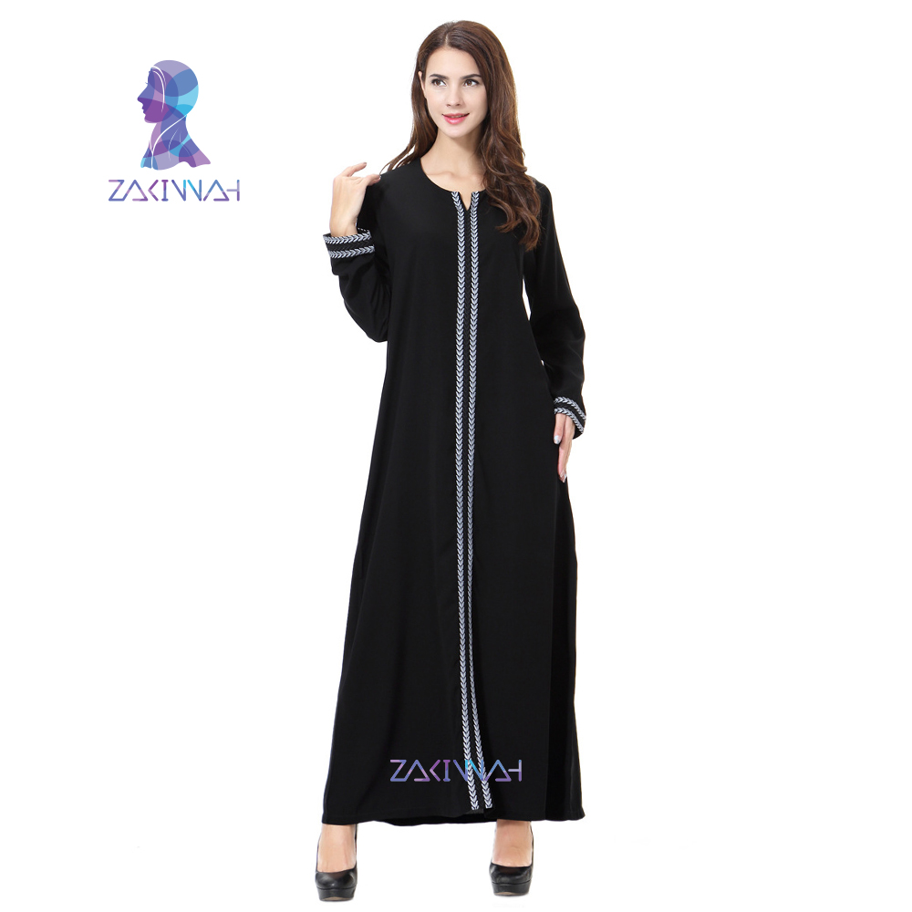 Zakiyyah nuevo bordado Abayas para mujer musulmana vestido más el tamaño de ropa islámica vestido de manga larga túnica Musulmane