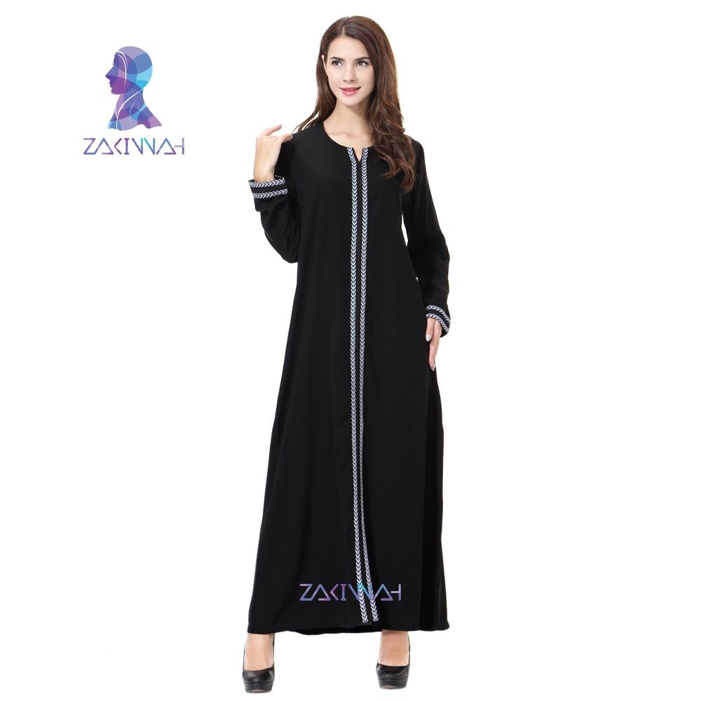 Zakiyyah New Embroidery Abayas For Women Muslim Dress Plus Size Islamic Clothing Dress Long Sleeve Robe Musulmane