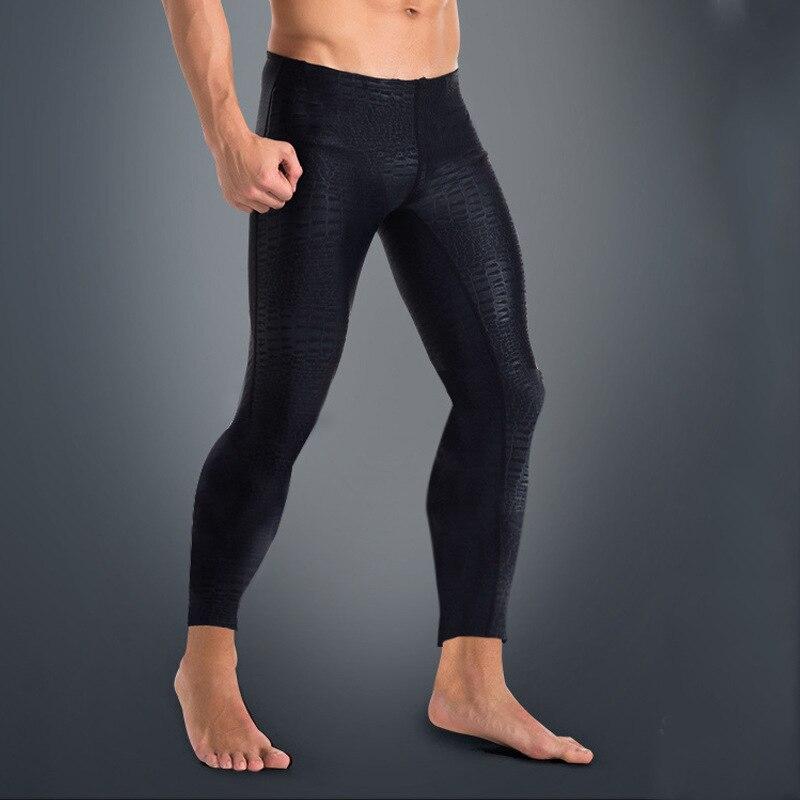 2018 Men Quick Dry Rash Guard Tight Pant Leggings Anti-UV Lycra Rashguard Full Length Black Solid Fitness Swim Surf Pants 3XL H