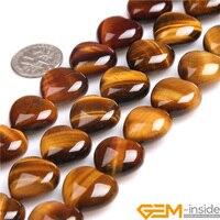 16 mét Hình Trái Tim Màu Vàng Hổ Mắt Hạt Đá Tự Nhiên Hạt DIY Hạt Lỏng Beads Đối Với Trang Sức Làm Strand 15 inch! bán buôn!