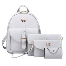 4pcs/set PU Leather Bowknot Backpack Women Shoulder Bag Clutch Bag Female Back Pack Leather Backpack Rucksack Bowknot Backpacks
