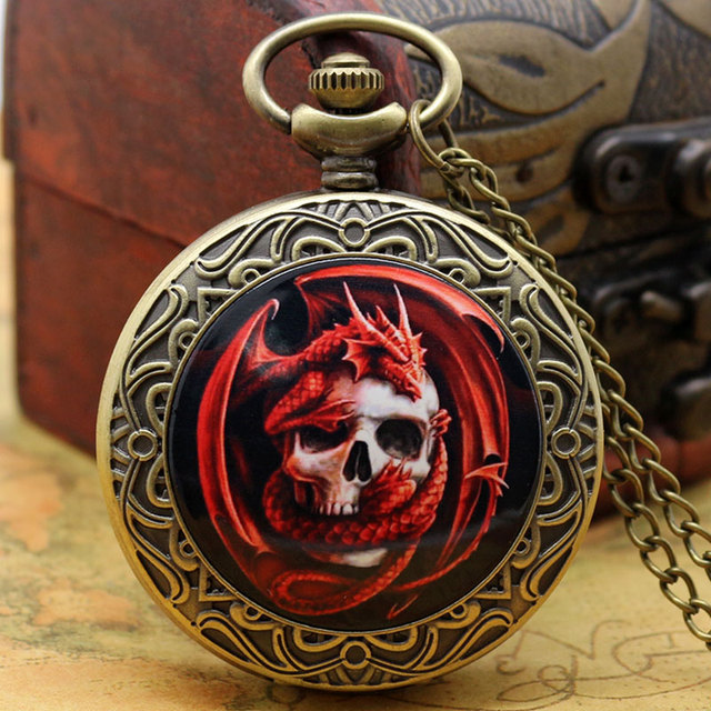 2016 New Style Clock Red Dragon With Skull Pocket Watch With Necklace Chain High
