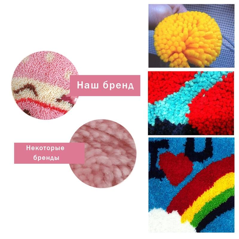 Cartoon Latch Hook Rug Canvas Embroidery Pillow Crochet Animal Kit Handmade Craft Cushion Kits DIY Home Decor Knooppakket Bear