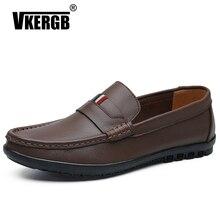 VKERGB Fashion Leather Shoes Men Genuine leather Slip On Lazy Shoes Walking Boat Designer Shoe Loafers Moccasins Handmade Flats