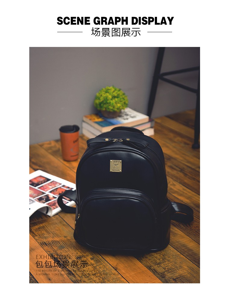 2016 Fashion Vintage Black PU Leather Backpacks For Women Preppy Bookbag New Cheap Designer Backpack Brand Couro Mochilas Mujer (19)