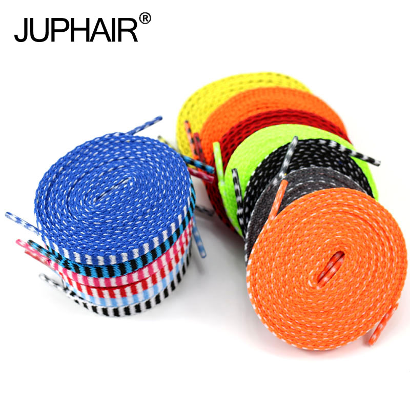JUP8 Pairs Athletic Shengdai Flat Shoelaces Men Women Casual Board Shoes Shoelace Multicolor Stripe Shoestring  Length:120-140CM