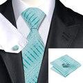 Laço dos homens Da Listra Azul De Seda Jacquard Laços Para Homens Gravata Lenço Abotoaduras Set Wedding Party Negócios Presente dos homens C-703