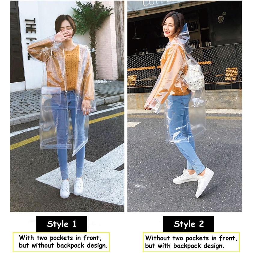 Adult transparent eva long women men fashion raincoat jackets girl fashion clear hooded Impermeable outdoor travel rain coats