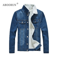 ABOORUN Men's Winter Denim Jackets Fur Collar Thick Fleece Jeans Jackets Blue Warm Slim fit Coat Parkas for Male Cowboy x1553