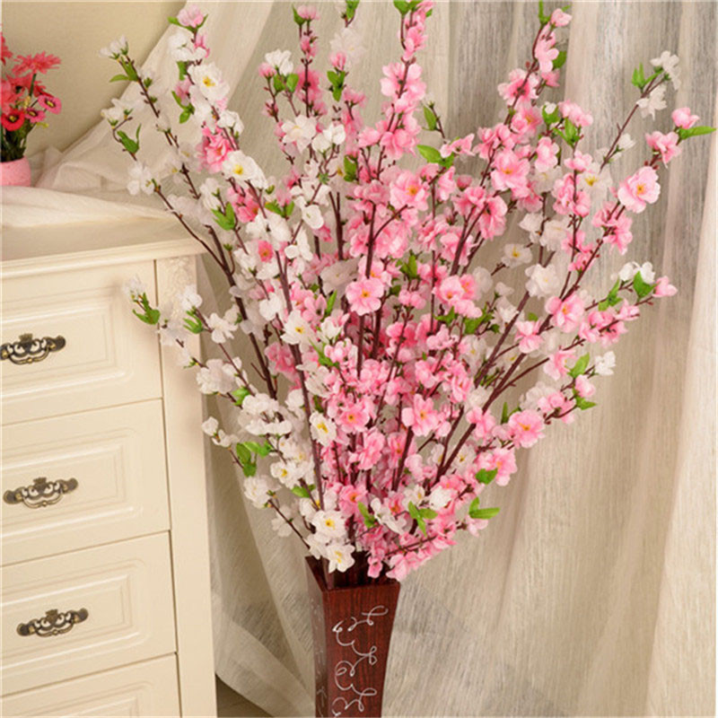 Artificial Cherry Spring Plum Peach Blossom Branch Silk Flower Home Wedding Decorative Flowers Plastic Peach Bouquet 65CM P0.21
