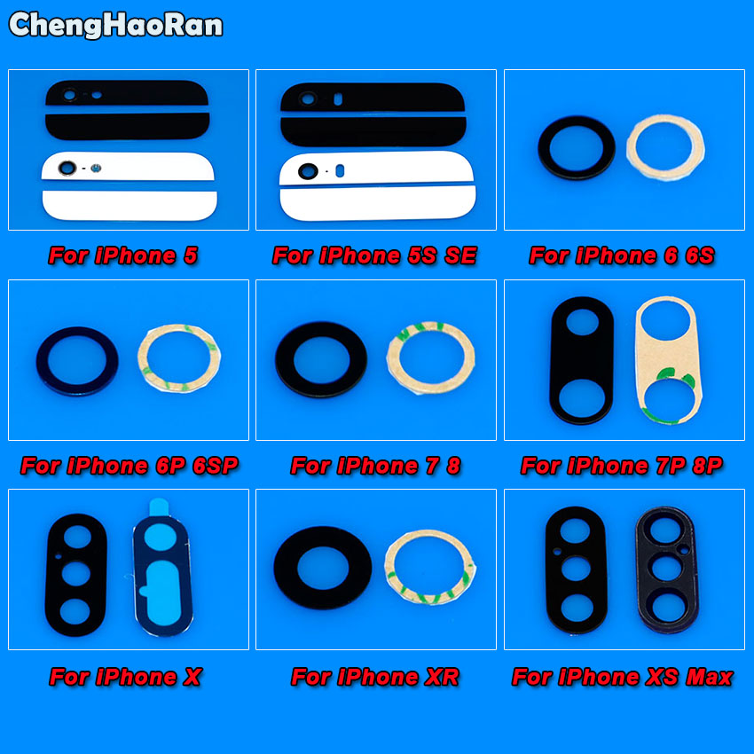 ChengHaoRan Rear Back Camera Glass Lens For iPhone 8 7 6s 6 plus 5 5S SE X XR XS Max Camera Lens Cover with <font><b>Sticker</b></font> image