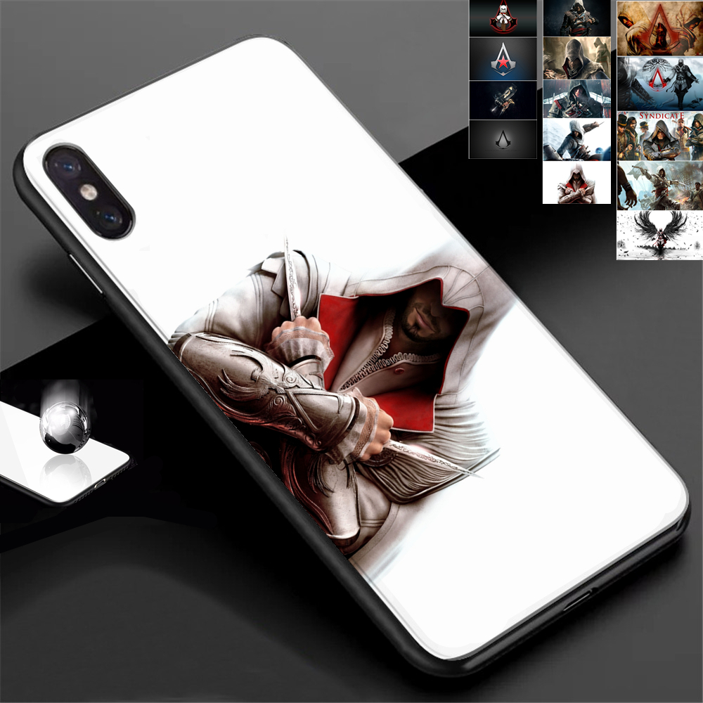 Assassins Customized Creed Tempered Glass Phone Case For iPhone 7 6 S plus 8 X XS XR MAX Hidden Blade Game Men Smartphone Cover image