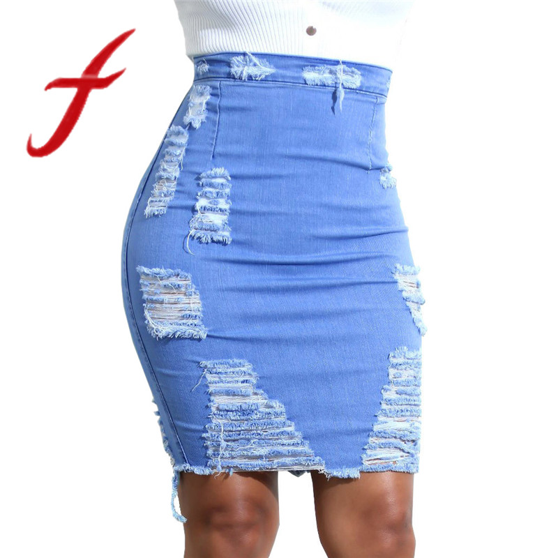 Feitong Ladies Womens High Waist Skirt Sexy Ripped Denim Distressed Bodycon Pencil Mini Jean Skirt Pencil Skirts faldas mujer denim