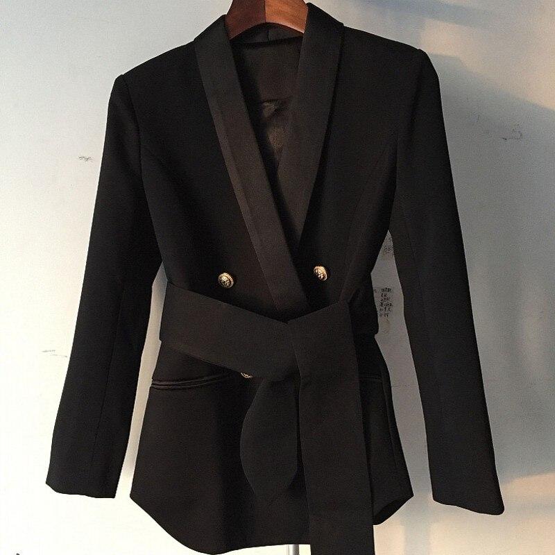 Металлический двубортный Блейзер Elegantes Mujer, шаль, воротник, качество, офисные женские пояса, Женский блейзер, приталенный, плюс размер, S XXL - 5