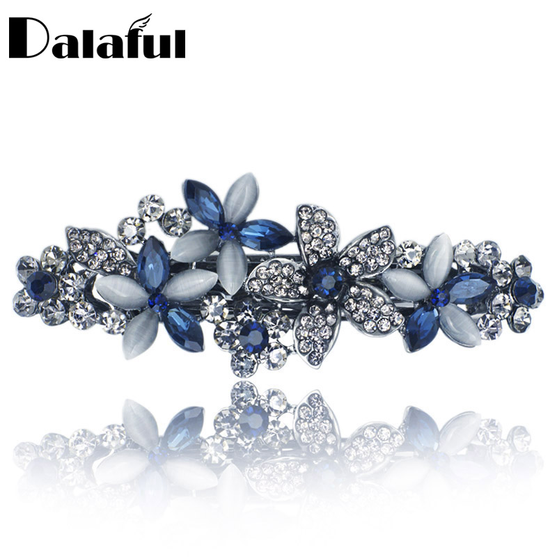 Flossy Opals Crystal Flower Rhinestone Hair Clip Barrette Hairpin Headwear Tilbehør Smykker For Woman Girls Wedding F132