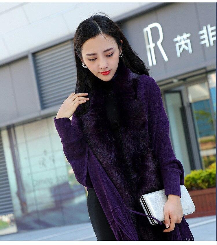 Faux Fur Collar Shawl Cardigan Tassel Winter Warm Coat 52