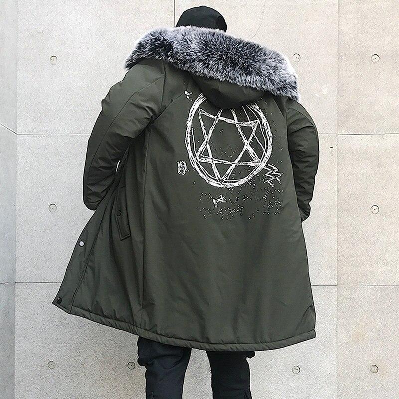 Street Style Fashion Men's Winter Jacket Coat Long Style Fur Hooded Windbreaker Parka Casual Slim Fit Hip Hop Mens Overcoat