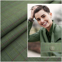Green Wool plaid Slim Fit Men Groom Suits British Style Two Buttons Men Blazer Wedding Tuxedos For Menjacket +pant vest