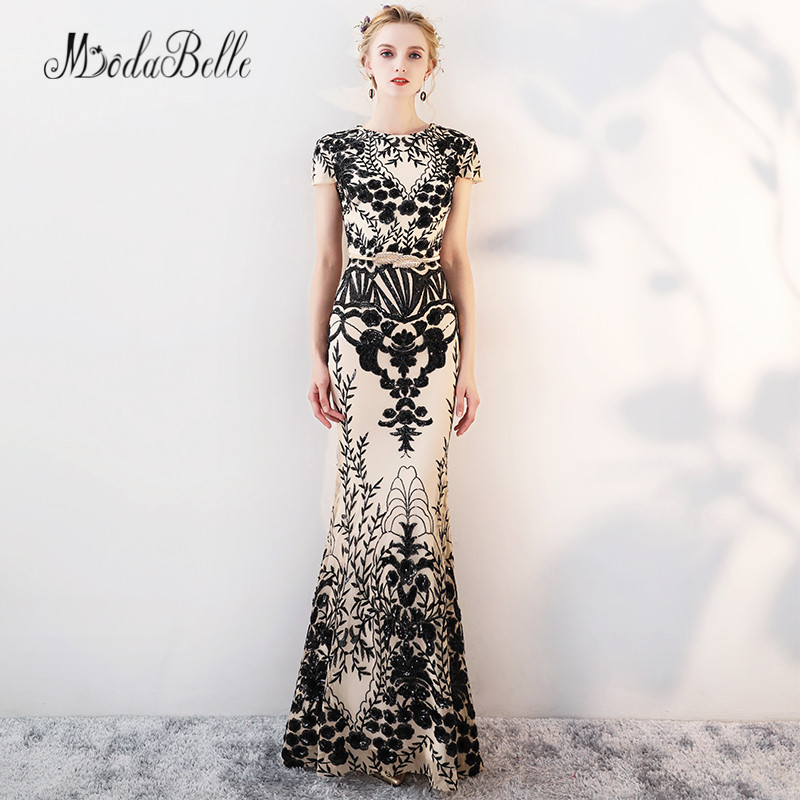 modabelle Long Sequined Black <font><b>Evening</b></font> <font><b>Dress</b></font> Mermaid With Embroidery Fashion <font><b>Sexy</b></font> Ladies Arabic Formal Party <font><b>Evening</b></font> Gowns <font><b>2018</b></font> image