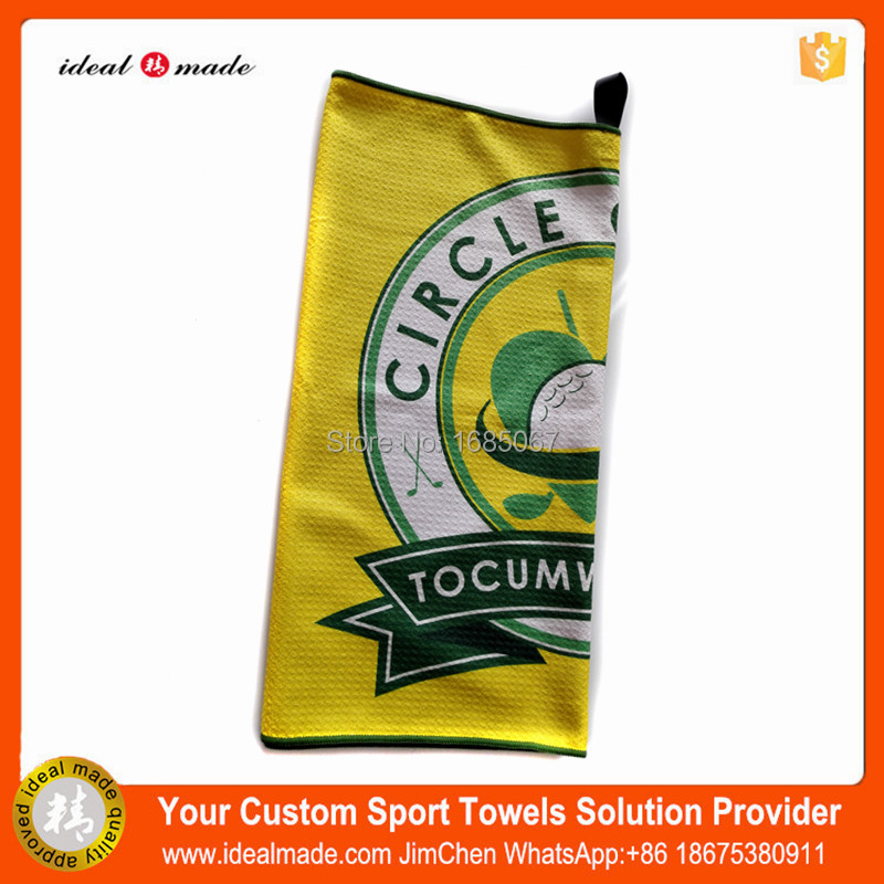 Free Shipping 200pieces/lot High quality 100% microfiber printed logo waffle golf gift towel OEM wholesale