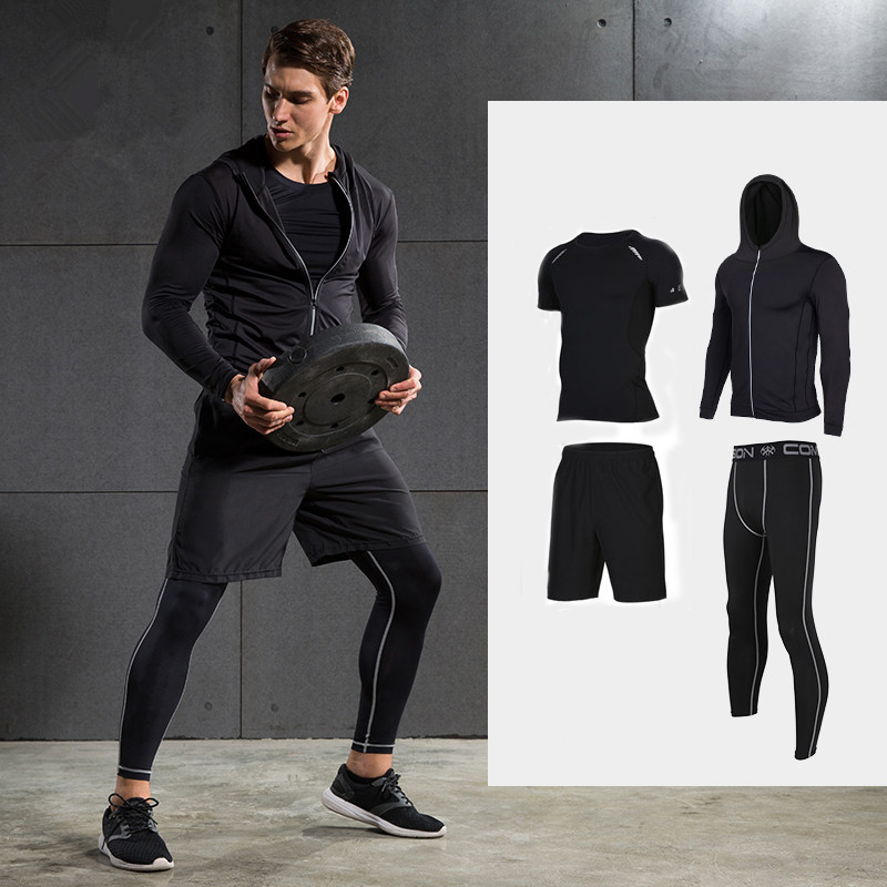 2017 New Men Compression Running Suits Quick Dry Basketball Sport Underwear Clothes 4 Pieces/Sets Gym Fitness Jogging Tracksuits 2017 winter outdoor quick dry running sets men compression sports suits jogging basketball tights clothes gym fitness sportswear