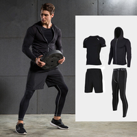 2017 New Men Compression Running Suits Quick Dry Basketball Sport Underwear Clothes 4 Pieces Sets Gym