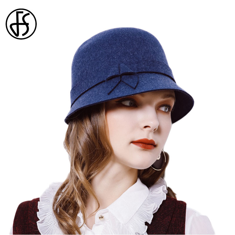 2018 New Elegant Women Winter Wool Hats Felt Female Short Brim Cloche Round  Hat Ladies Dome Blue Purple Brown Fedora Hats-in Fedoras from Apparel ... 8ab486f90e11