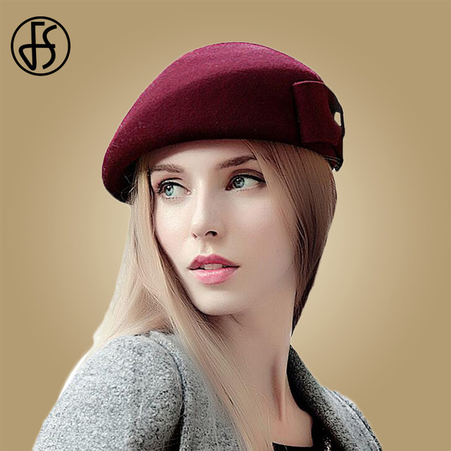 FS Elegant 100% Wool French White Beret Hats Women Vintage Pillbox Hat  Black Red Ladies Bow Winter Felt Fedoras Stewardess Cap eee632e434e