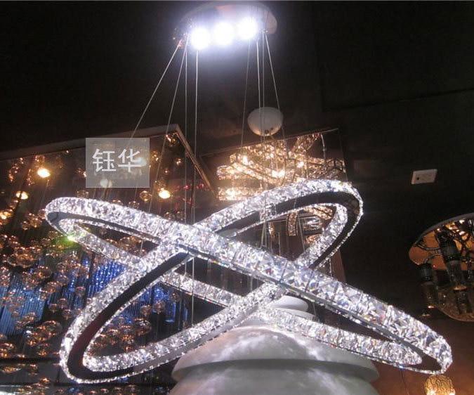 Slaapkamer Lamp Led : 80cm moderne 2 tier ellips led kristal diamanten ring hanger lamp