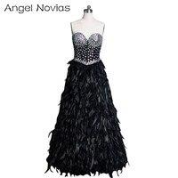 Длинное роскошное Черное вечернее платье из перьев 2018 Кристальное Бисероплетение длинное вечернее платье Ангел Novias арабское вечернее плат
