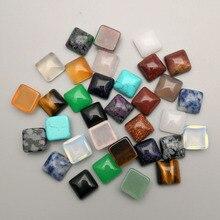 Pierre naturelle, lot de 50, arc carré, simple arc, breloque carrée mixte, perles cabochon pour bijoux bague, accessoires de mode, 10x10mm