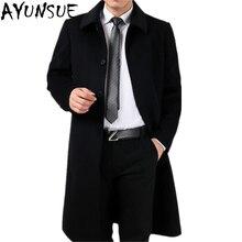 AYUNSUE размера плюс 4XL новая мода зимнее пальто для мужчин длинная куртка мужская ветровка кашемировое пальто Мужское пальто LX2421