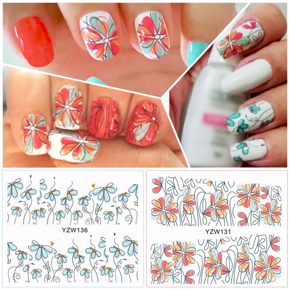 ZKO 2 Patterns/Sheet Cute Flower Nail Art Water Decals Transfer ...