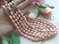 FREE shipping>Wholesale 5pieces Natural 13mm Pink Rice Pearl Necklace 6.07