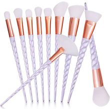 Professional 10PCS Spiral White Handle Makeup Brushes Set Foundation Blending Blush Face Shading Cosmetic Make Up Brush Kit(China)
