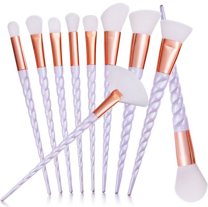 Professional 10PCS White Handle Makeup Brushes Set Foundation Blending Blush Face Shading Cosmetic Brush Make Up Kit 5 Colors