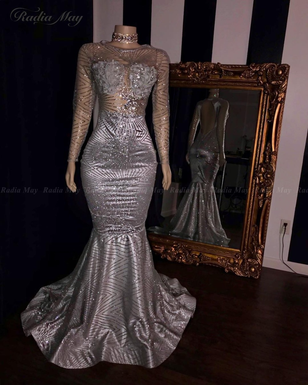 BIG OFFER) Glitter Sequin Long Sleeves Mermaid Silver Prom ...
