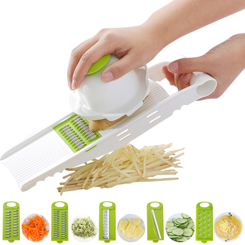 Fashion 1Set Vegetable Slicer Shredders Grater Carrot Onion With 5 Blades Stainless Steel Blades Kitchen Tools