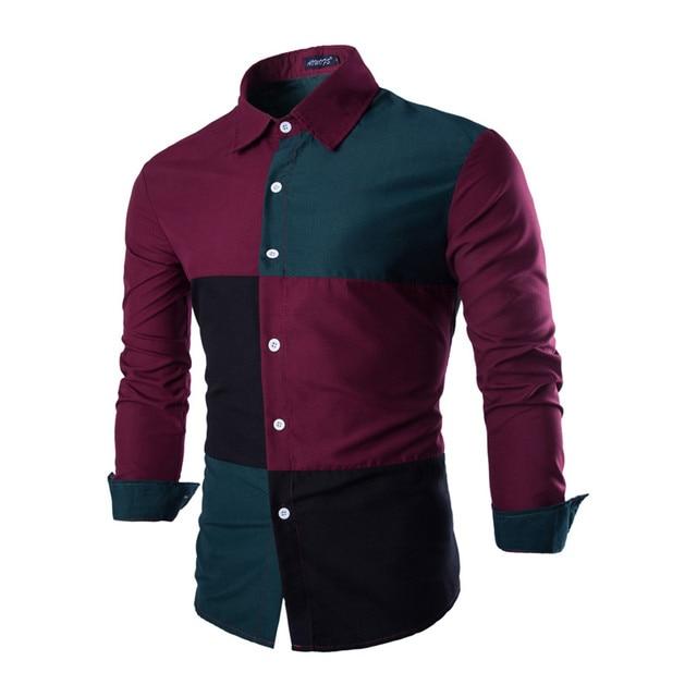 Camisa de los hombres 2016 de La Marca de Moda Los Hombres Con Camisa A Cuadros Masculinos Camisa de Manga Larga Camisa Masculina Ocasional Delgado Chemise Homme SDNKA