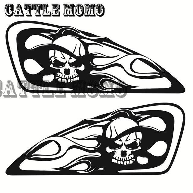 Moto Crâne Flamme Conception Réservoir Decal Autocollant