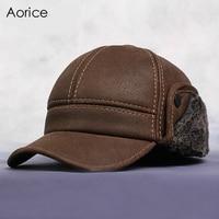 HL083 New New Fashion Men S Scrub Genuine Leather Baseball Winter Warm Baseball Hat Cap 2colors