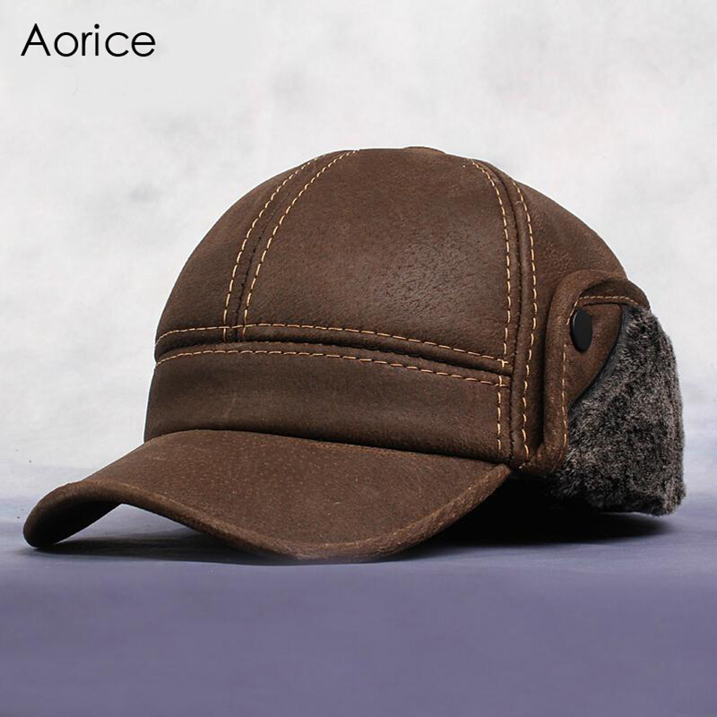 Aorice 2017 Autumn Winter New Fashion Men's Scrub Genuine Leather Baseball Winter Warm Baseball Hat / Cap 2colors HL083 hot winter beanie knit crochet ski hat plicate baggy oversized slouch unisex cap