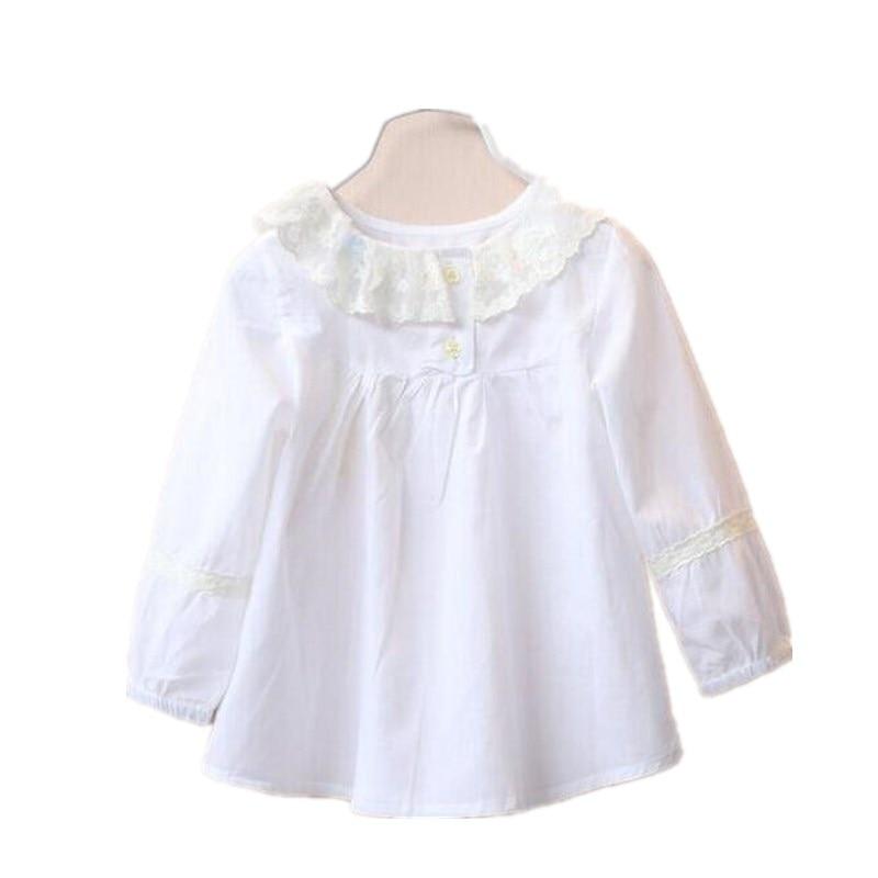 0f114aa50 2018 طفل بلوزة للفتيات بلوزة الأبيض الكامل الأكمام الفتيات قمم بيتر بان طوق  بلوزة أزياء الاطفال ملابس الأطفال الملابس
