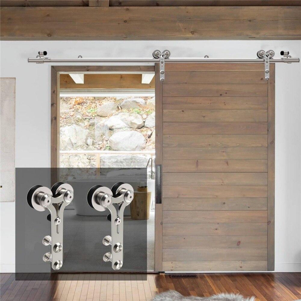 LWZH 4-9.6FT en forma de Y PLATA moderna Puerta de acero inoxidable Corredera de madera Y vidrio Puerta Corredera Kit de Hardware para una sola Puerta