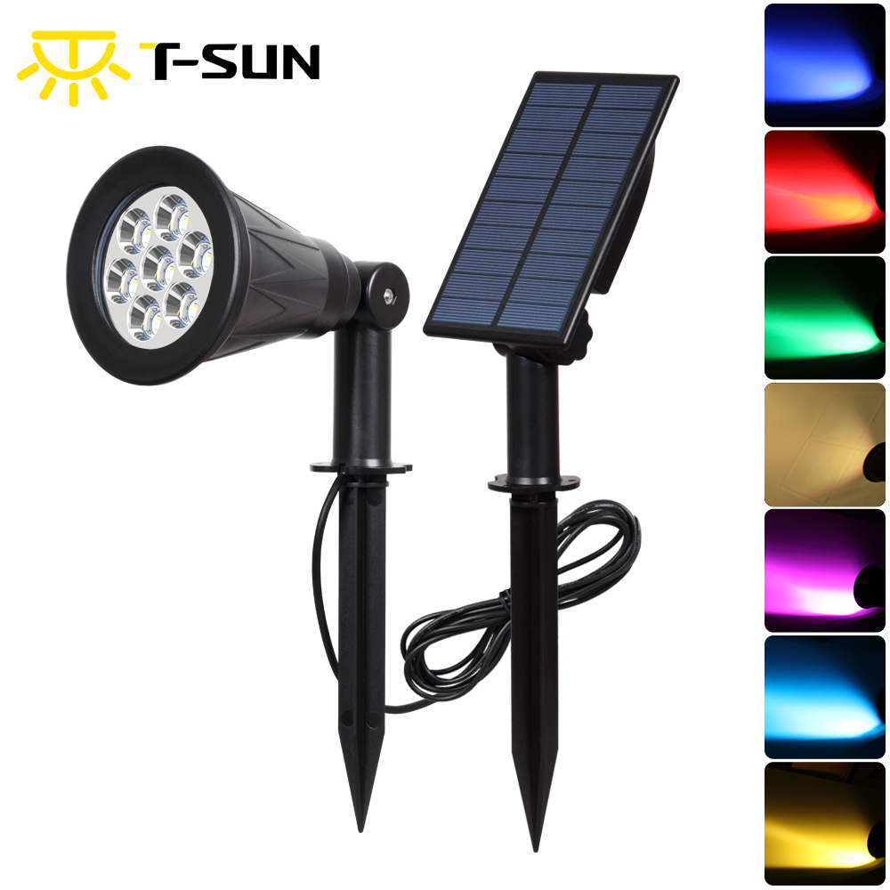 T-SUNRISE 7 Color Solar Spotlights Color-Changing 7 LED Separately Installed Outdoor Garden Wall Lights, Auto-on /off, 180 Angle