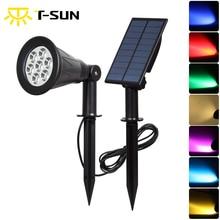 T-SUNRISE 7 цветов точечные светильники на солнечных батареях Цвет-Изменение 7 светодиодный отдельно Instal светодиодный уличные фонари на садовую ограду, Auto-on/off, 180 Угол