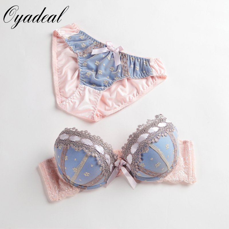 2016 sexy lingerie, bra brief sets, three-row Lace Embroidery underwear, sexy young girl bra set, france brand bra sets, Big Cup BC