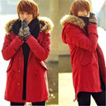 2016 Men's parka long coat winter warm thicken casual jacket male leopar lining Fur collar cotton-padded clothes real shot chart